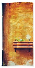 Hand Towel featuring the photograph Wall Gutter Vase by Silvia Ganora