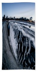 Wall Of Ice And Chicago Skyline At Dusk  Bath Towel