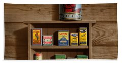 Wall Spice Rack - Americana Kitchen Art Decor - Vintage Spice Cans Tins - Square Format Hand Towel