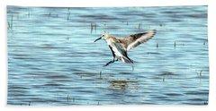 Willet Landing On Lake Bath Towel