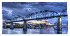 Walnut Street Pedestrian Bridge Sunset Chattanooga Tennessee Art Bath Towel