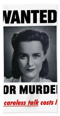 Housewife Wanted For Murder - Ww2 Bath Towel