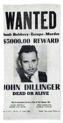 Wanted John Dillinger 1934 Hand Towel