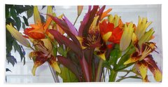 Warm Colored Flowers Bath Towel
