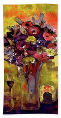 Warm Pink And Wine Winter Bouquet By Lisa Kaiser Hand Towel