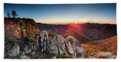 Warm Sunlight At Sunrise In The Mountain Hand Towel