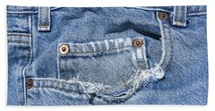 Worn Jeans Hand Towel