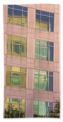 Hand Towel featuring the photograph Warped Window Reflectionss by Linda Phelps