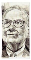 Warren Buffett Watercolor Bath Towel
