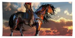 Warrior And War Horse Hand Towel by Daniel Eskridge