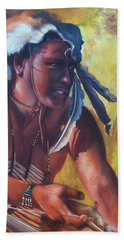Bath Towel featuring the painting Warrior Of The Gate by Karen Kennedy Chatham