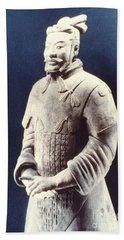 Hand Towel featuring the photograph Warrior Of The Terracotta Army by Heiko Koehrer-Wagner
