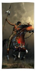 Warriors Of The Plains Hand Towel by Daniel Eskridge
