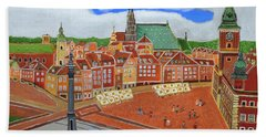 Bath Towel featuring the painting Warsaw- Old Town by Magdalena Frohnsdorff