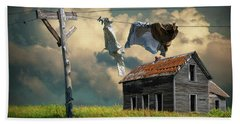 Wash On The Line By Abandoned House Bath Towel