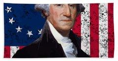 Washington And The American Flag Hand Towel