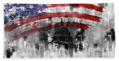 Hand Towel featuring the painting Washington Dc Building 01a by Gull G