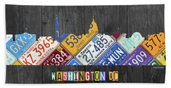 Washington Dc Skyline Recycled Vintage License Plate Art Hand Towel