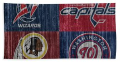 Bath Towel featuring the mixed media Washington Dc Sports Teams by Dan Sproul