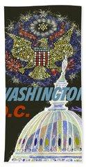 Washington D.c. Vintage Airline Poster Bath Towel