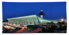 Washington Dulles International Airport At Dusk Bath Towel