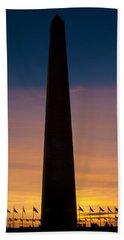 Washington Monument At Sunset Bath Towel
