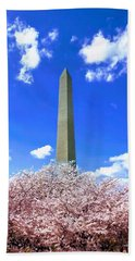 Washington Monument Cherry Blossoms Bath Towel
