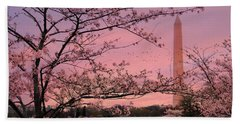Bath Towel featuring the photograph Washington Monument Cherry Blossom Festival by Shelley Neff