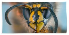 Bath Towel featuring the photograph Wasp Portrait by Alexey Kljatov