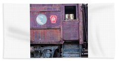 Bath Towel featuring the photograph Watch Your Step Vintage Railroad Car by Terry DeLuco