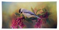 Watching Flowers Bloom Bird Art Hand Towel by Jai Johnson