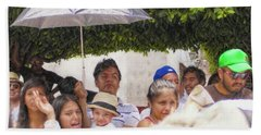 Bath Towel featuring the photograph Watching The Parade by John Kolenberg