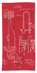 Water Closet Patent Art Red Bath Towel