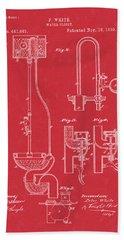 Water Closet Patent Art Red Bath Towel