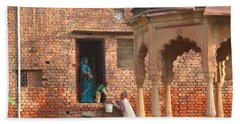 Hand Towel featuring the photograph Water Delivery In Vrindavan by Jean luc Comperat
