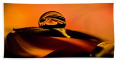 Water Drop On Orange Bath Towel