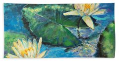 Hand Towel featuring the painting Water Lilies by Ana Maria Edulescu