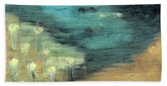 Hand Towel featuring the painting Water Lilies At The Pond by Michal Mitak Mahgerefteh