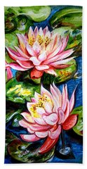 Hand Towel featuring the painting Water Lilies  by Harsh Malik