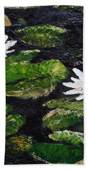Bath Towel featuring the painting Water Lilies I by Marilyn Zalatan