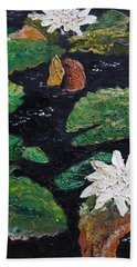 Hand Towel featuring the painting water lilies II by Marilyn Zalatan