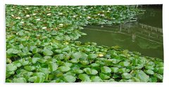 Water Lilies In The Moat Hand Towel by Susan Lafleur
