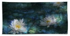 Water Lilies In The Rain Bath Towel