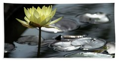 Water Lily And Silver Leaves Bath Towel