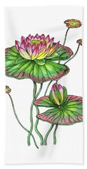 Water Lily Botanical Watercolor  Hand Towel