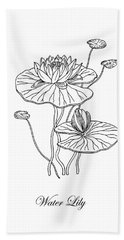 Water Lily Flower Botanical Drawing  Hand Towel