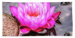 Water Lily In The Rain Hand Towel