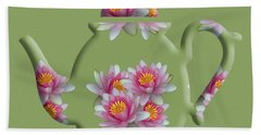 Water Lily Pattern Teapot Hand Towel