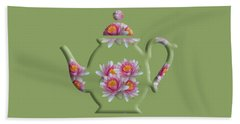 Water Lily Pattern Teapot Bath Towel