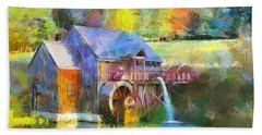 Hand Towel featuring the painting Water Wheel Cottage by Wayne Pascall